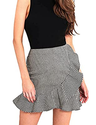 Justalwart Women's High Waist Plaid Swing Ruffle Frill Mini Bodycon Skirt Gingham Dress