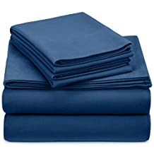 Pinzon 190 Gram Heavyweight Velvet Flannel Sheet Set - Queen, Smokey Blue
