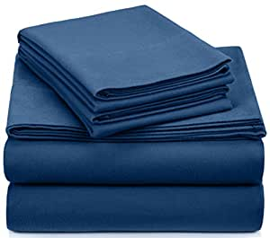 Pinzon Signature 190-Gram Cotton Velvet Flannel Queen Sheet Set, Smokey Blue