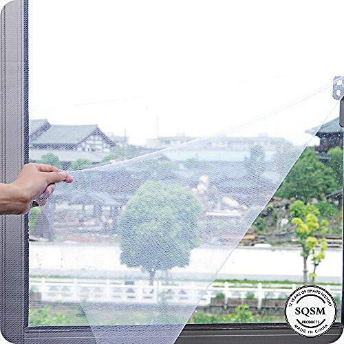 Window Screen Mesh Curtain,Mosquito Netting Adhesive Net Mesh Screen Protector with Sticky Anti Bug(150x180cm 1Pack, White) -
