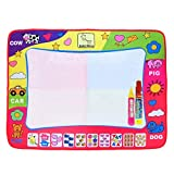 Aqua Doodle Mat, Large Magic Water Drawing Painting Writing Mat Pad Board 2 Pen Mess Free Coloring Develop Intelligence Learning Toy Gift for Boys Girls Toddlers Kids Children 31.5 X 23.6