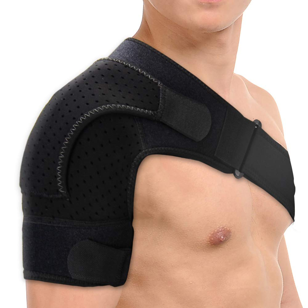 Shoulder Brace Adjustable Rotator Cuff Support for Men or Women Sleeve Shoulder Cuff Shoulder Support Brace for Rotator Cuff AC Joint Dislocated Shoulder or Sprains for Right & Left Shoulder by Kndio