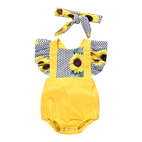 Baby Girl Short Sleeve Sunflower Romper Jumpsuit+Headband Outfits Clothes Set (3-6M)