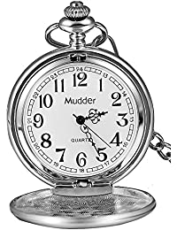 Classic Smooth Vintage Steel Mens Pocket Watch Xmas Gift (Silver)