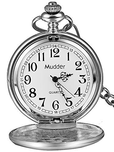 (Mudder Classic Smooth Vintage Steel Mens Pocket Watch Xmas Gift (Silver))