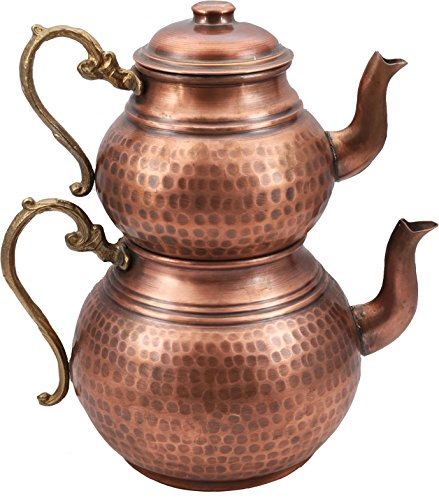Handcrafted Copper Turkish Tea Pot Set, Tea Maker, Samovar, Ottoman Antique Handmade Tea Pot Kettle, Traditional Turkish Black Tea Maker-(TP-109)