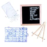 #5: Letter Board 10 x 10 inches Black Felt Letter Board with PRE-Cut 376 Letters, Emojis, Free Letter Box Organizer. Changeable Letter Board Made with Solid Oak Frame with Mounting Hooks and Tripod Stand