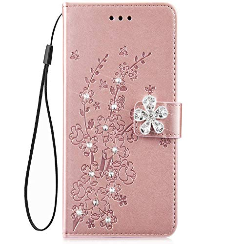 IKASEFU Galaxy A6 2018 case,Shiny Rhinestone Emboss Plum blossom Floral Pu Leather Diamond Bling Wallet Strap Case with Card Holder Magnetic Flip Cover Case for Samsung Galaxy A6 2018,Rosa Gold (Plum Shiny)