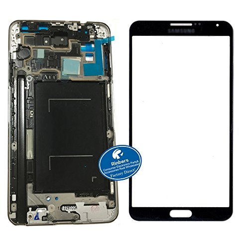 Rinbers LCD Plate Mid Frame Bezel with Gray Front Outer Glass Touch Panel Lens Screen Replacement for Samsung Galaxy Note 3 III N900A N900T Front Lcd Panel Bezel