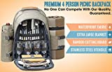 One Earth Home 4 Person Picnic Backpack with Solid