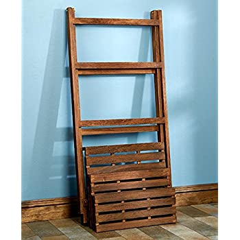Wood Shelf Display Shabby Chic Cottage Ladder Shelving Unit (walnut)