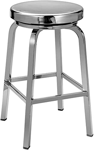 IRICA Stainless Steel Swivel Round Seat Backless Counter Hgt Bar Stool, Hand Polished Finish, 24 inches Seat Hgt, Commercial Quality, Indoor Porch Use, 1 Pack