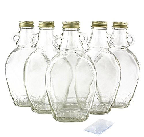 Premium Vials, 8 Ounce, 12 Pack, Empty Glass Syrup Bottles For Canning, with Metal Lids, Glass Maple Syrup Bottles (12 Pack with Shrink Wrap)