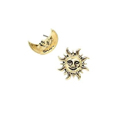 amazon wllayヴィンテージhappy face sun and moon非対称イヤリング