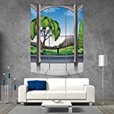 smallbeefly Landscape Vertical Version Tapestry Room with Window View of Mountains and Field Landscape Contemporary Architecture Throw, Bed, Tapestry, or Yoga Blanket 60W x 91L INCH Grey Green