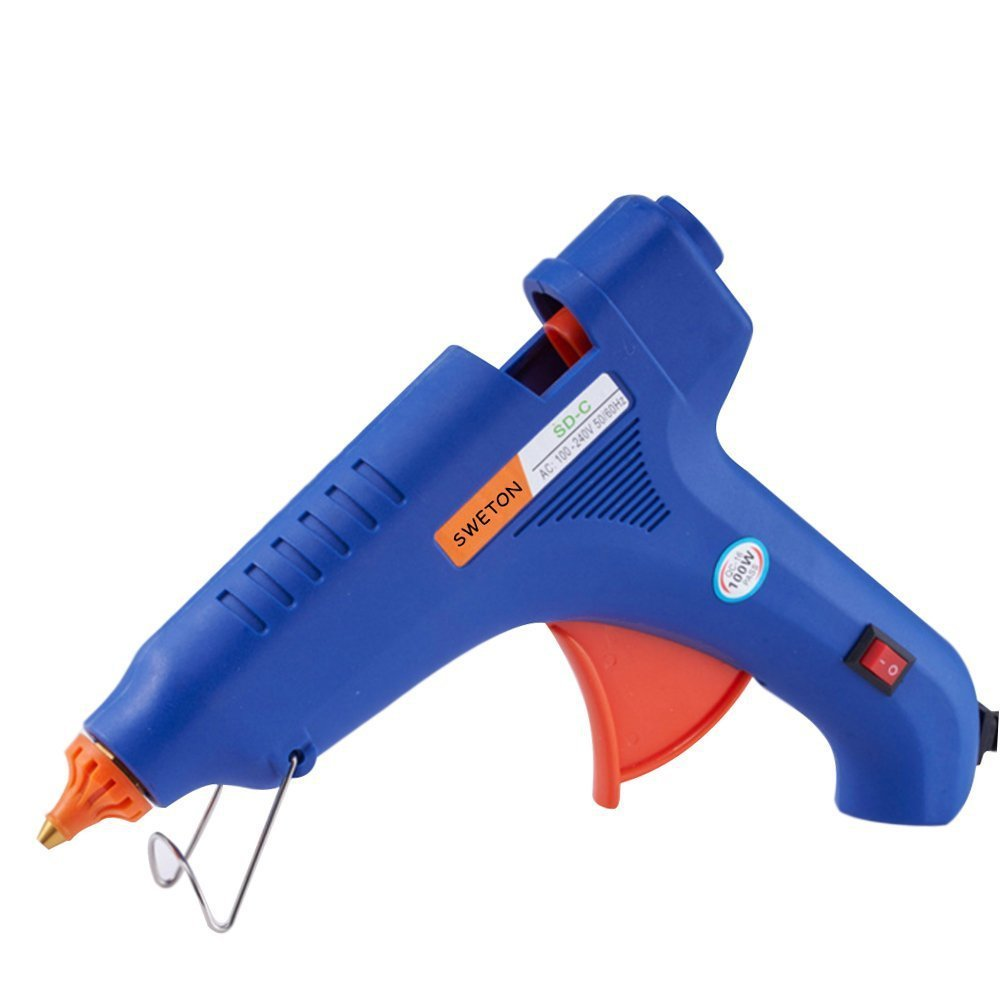 Hot Melt Glue Gun Kit Flexible Trigger for DIY Small Craft Projects&Sealing and Quick Repairs(100watt, Blue)