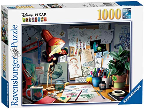 Ravensburger Disney Pixar - The Artist's Desk Puzzle 1000 Piece Jigsaw Puzzle for Adults - Every piece is unique, Softclick technology Means Pieces Fit Together Perfectly