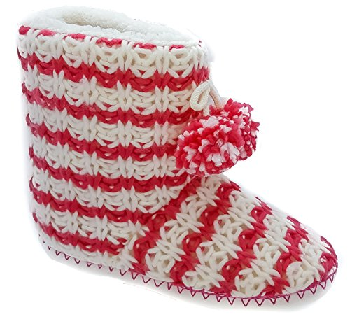 Ladies Coolers Red White Fleece Warm Lined Boot Slippers Sizes 3 4 5 6 7 8 Red oZqKznR5