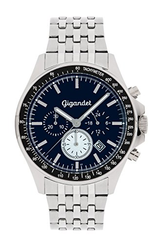 Gigandet Men's Quartz Watch Volante Chronograph Analog Stainless Steel Bracelet Silver Blue G3-014