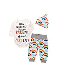i-Auto Time Newborn Infant Baby Boy Girl Romper+Rainbow Pants+Hat Outfits Clothes Set