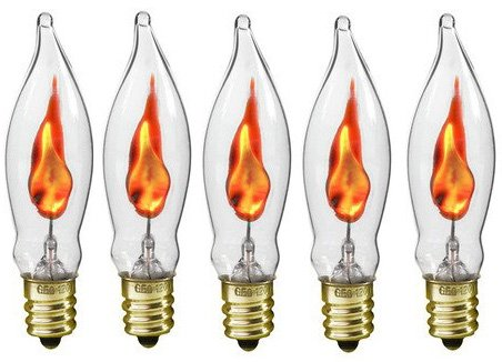 Creative Hobbies A101 Flicker Flame Light Bulb -3 Watt, 130 volt, E12 Candelabra Base, Flame Shaped, Nickel Plated Base- Dances with a Flickering Orange Glow - Box of 5 Bulbs for $<!--$9.99-->