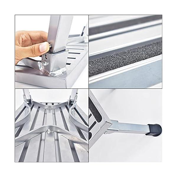 51ywsLiYBvS Arbeitsbühne, Stufen der Aluminium-Klappplattform, tragbare RV-Aufwärtsbankleiter, rutschfestes Design, tragbare Leiter…