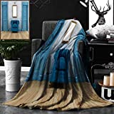 Unique Custom Double Sides Print Flannel Blankets Antique Decor Empty Room With Two Doors Armchair And Simple Mirror With Golden Col Super Soft Blanketry for Bed Couch, Throw Blanket 50 x 70 Inches