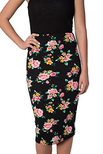 Womens Pencil Skirts Below The Knee Length Solid Color For Any Casual, Occasion and Office Wear By Caldore USA (Large, Pink Rose) - Wear High Waisted Pencil Skirt