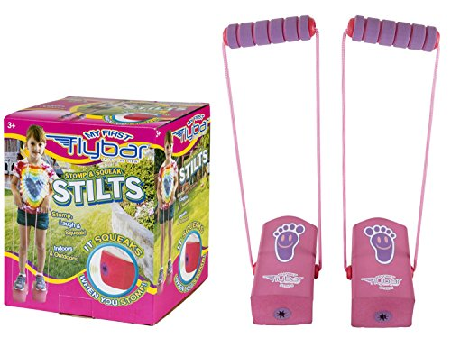 Flybar My First Kids Stilts - Soft and Safe Foam Pogo Steppers Squeak with Each Step Walking Cups with Foam Hand Grips and Sturdy Rope Handles Toy Stepper for Kids 3 & Up (Pink)