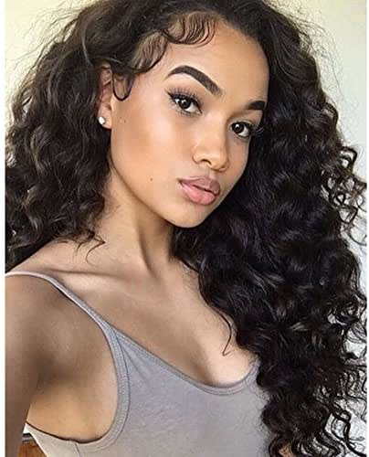 Am Youth Loose Wave Full Lace Wigs Human Hair - Glueless Brazilian Virgin Hair Wig with Baby Hair Loose Curly 130% Density for Black Women 22 inch