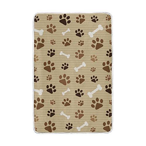 U LIFE Khaki Striped Dog Paw Prints Soft Fleece Throw Blanke