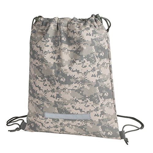 Heavy Duty Drawstring Backpack Digital Camouflage Army Navy Military Sack Bag (Pack of 1) ()