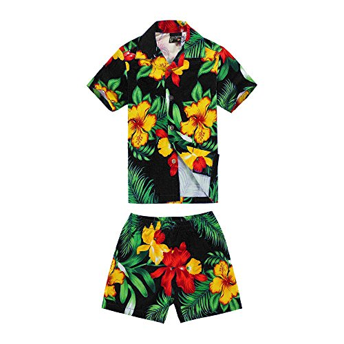 Boy Hawaiian Shirt and Shorts Cabana Set in Black Floral for sale  Delivered anywhere in USA