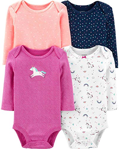 Carter's Baby 4 Pack Long Sleeve Bodysuit Set, Unicorn, 18 -