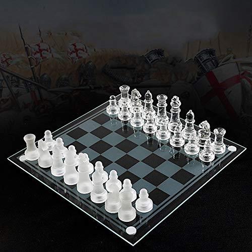 Yinghuawen Juego de ajedrez de Vidrio Manual, Piezas de ajedrez de Vidrio sólido y Tablero de ajedrez de Espejo de…