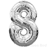 40 Inch Giant Jumbo Helium Foil Mylar Balloons (Premium Quality), Glossy Silver, Number 8