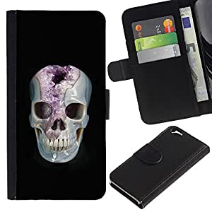 ZCell / Apple Iphone 6 / Minerals Marie Skull Black Amethyst / Caso Shell Armor Funda Case Cover Wallet / Minerales Marie cráneo Negro Am