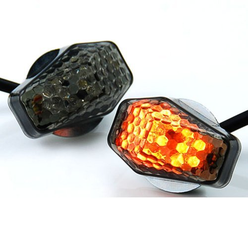 15 Amber LED Flush Mount Smoke Turn Signal Indicator Blinker Light Universal For Motorcycle Sport Street Racing (Led Turn Signal Honda Cbr)