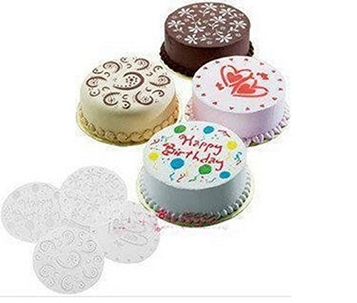 iable Lot de 4pièces DIY gâteau Cupcake moule Pochoir modèle cakebirthday Coeur Fleur spirales Décoration