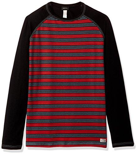 Diesel Men's Casey Stripe Sleep Shirt, Red/Black Stripe, Medium