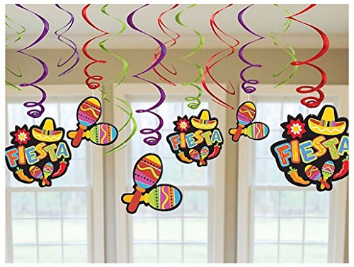 Mexican Fiesta Hanging Swirl Decorations Spanish Party Supplies Ceiling Danglers