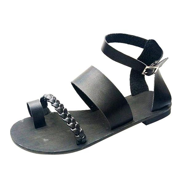 Sandalias mujer planas negras, Covermason Sandalias romanas planas romanas planas de la moda de las mujeres: Amazon.es: Ropa y accesorios