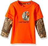 Carhartt Baby Little Boys' Long Sleeve Tee Shirt, Bright-Orange, 3M