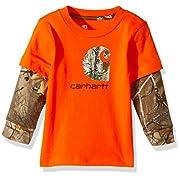 Carhartt Baby Little Boys' Long Sleeve Tee Shirt, Bright-Orange, 3M