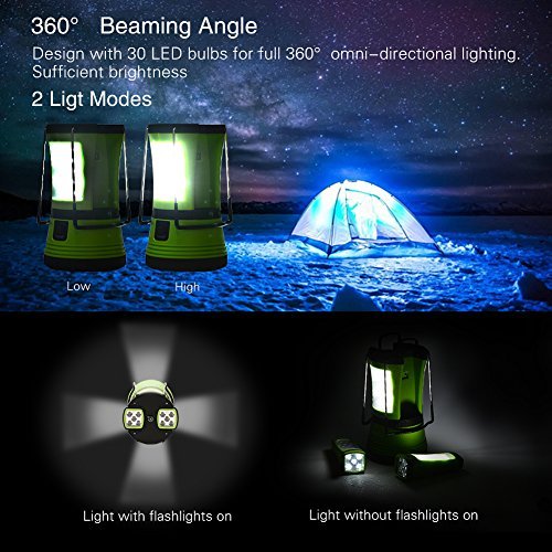 LUNSY 600LM LED Camping Lantern Rechargeable, Portable Water Resistant Tent Light with 2 Detachable Flashlights Torchs,10 Hours Running Time Survival Kit for Outdoor Camping Hiking Emergency