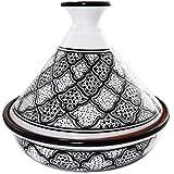 Le Souk Ceramique Cookable Tagine, Black and White Honey Design