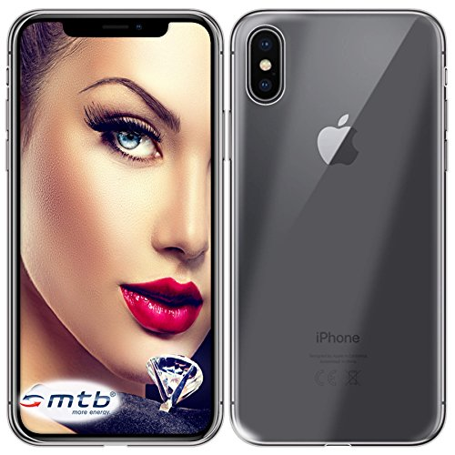 mtb more energy® Funda Clear & Slim para Apple iPhone X (5.8) | transparente | flexible | delgada | Gel TPU Silicona Carcasa Suave Cascara