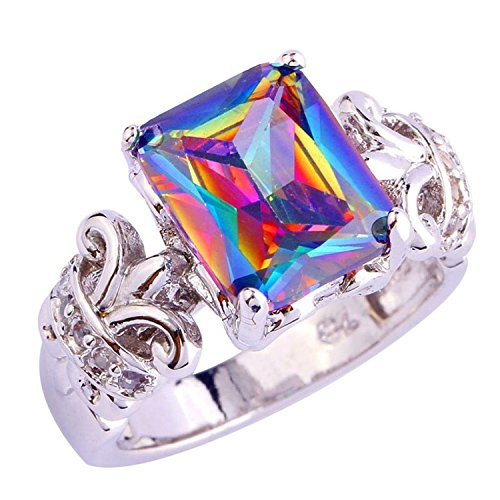 Psiroy 925 Sterling Silver Grace Womens Band Charms 12mm10mm Emerald Cut Rainbow Cz Created Ring