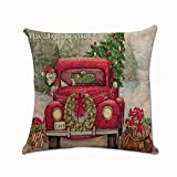 Mapletop Christmas Pillow Covers 18 x18, Xmas Tree Santa Claus Cushion Cases Throw Cover Square Car Home Decor