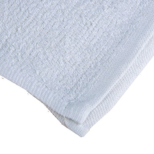 GHP 240-Pcs 32-Oz 16''x19'' White Cotton Terry Weave Absorbent Cleaning Rag Towels